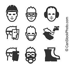 trabajo, seguridad, iconos