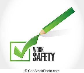 trabajo, seguridad, marca de verificación, concepto, ilustración