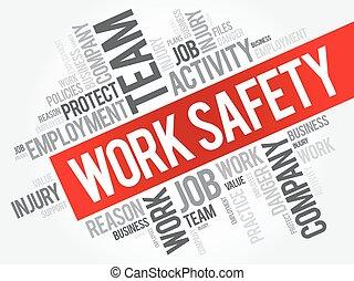 trabajo, seguridad, palabra, nube, collage