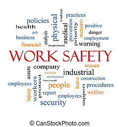trabajo, seguridad, palabra, nube, concepto