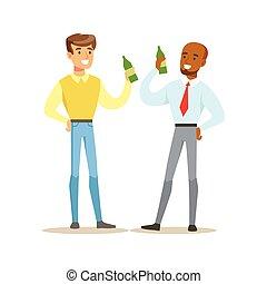 trabajo, serie, después, amigos, ilustración, cerveza, parte...