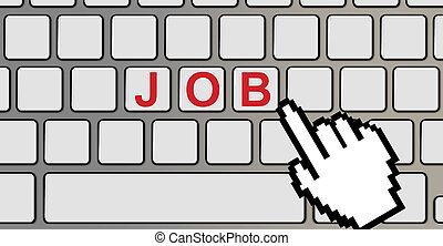 trabajo, texto, en, un, ordenador teclado