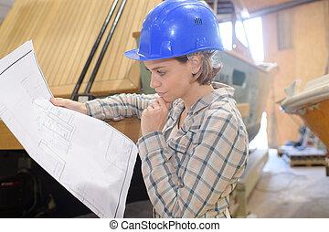 trabajo, trabajador construcción, sitio, hembra