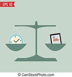 trabajo, vector, -, balance, tiempo, eps10, ilustración