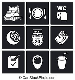 trabajo, vector, conjunto, camioneros, icono
