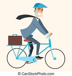 trabajo, yendo, bicicleta, oficina, hombre de negocios