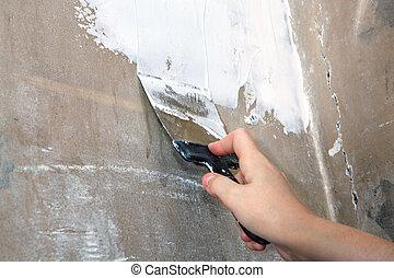 trabajo, yesero, sucio, espátula, en, mano, pintor,...
