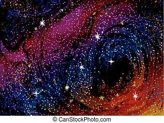 trabajos artísticos, cósmico, ilustración, su, stars., ...