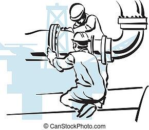 trabalhador óleo