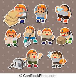 trabalhador, adesivos, caricatura