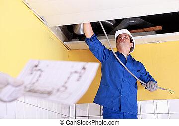 trabalhador, afixando, elétrico, algum, fios