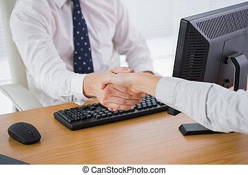 trabalhador, agitação, homem negócios, co, mãos