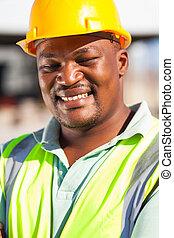 trabalhador, americano, construção, macho, africano