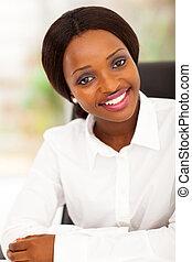 trabalhador, atraente, escritório, africano