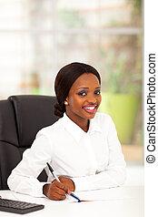 trabalhador, bonito, escritório, africano