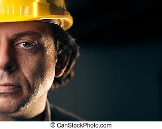 trabalhador, capacete, manual, adulto, retrato