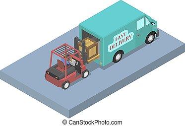 trabalhador, cargas, furgão, forklift.