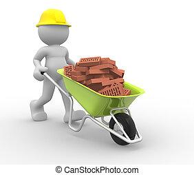 trabalhador, com, capacete, e, carrinho de mão