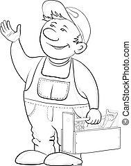 trabalhador, com, instrumentos, contorno