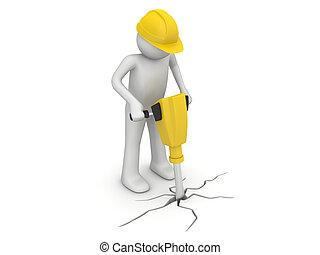 trabalhador, com, pavimentar, interruptor