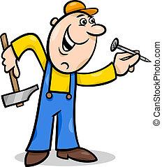 trabalhador, com, prego, caricatura, ilustração