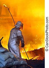 trabalhador, com, quentes, aço