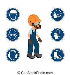 trabalhador, com, seu, pessoal, equipamento protetor, e, segurança, icons., vetorial, ilustration.