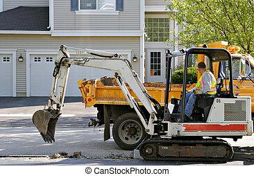 trabalhador construção, afixando, estrada