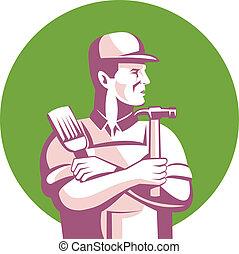 trabalhador construção, carpinteiro, pintor