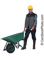 trabalhador construção, carrinho de mão