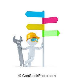 trabalhador construção, com, coloridos, signpost.