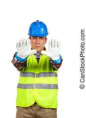 trabalhador construção, com, luvas, ordem, parar