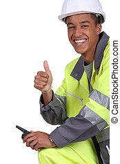 trabalhador construção, com, um, walkie talkie