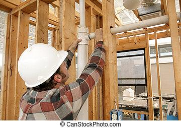 trabalhador construção, conectando, cano