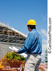 trabalhador construção, em, local