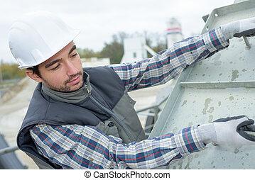 trabalhador construção, em, local edifício