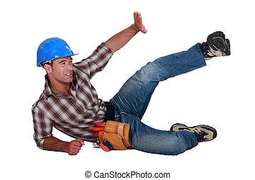 trabalhador construção, em, um, acidente