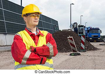 trabalhador construção, estrada