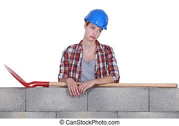 trabalhador construção, femininas, triste