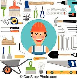 trabalhador, construção, ferramentas, trabalhando, macho