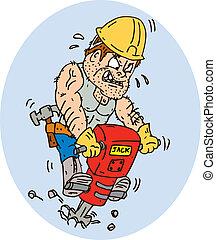 trabalhador construção, jackhammer, perfurar, caricatura