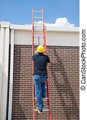 trabalhador construção, ligado, escada