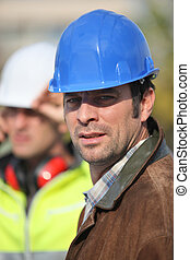 trabalhador construção, local