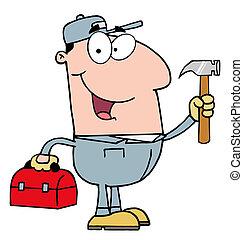 trabalhador, construção, martelo