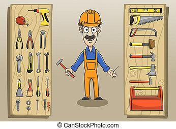 trabalhador, construção, personagem, pacote