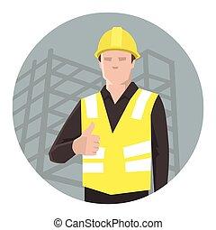 trabalhador construção, polegares cima