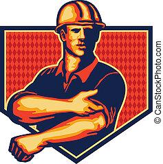 trabalhador construção, rolar cima, manga, retro