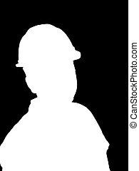trabalhador, construção, silueta, ilustração