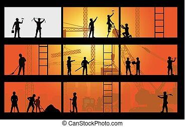 trabalhador construção, silueta