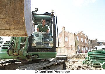 trabalhador construção, usando, cavador